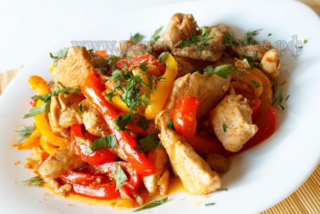 Курица с овощами (Фахитос)
